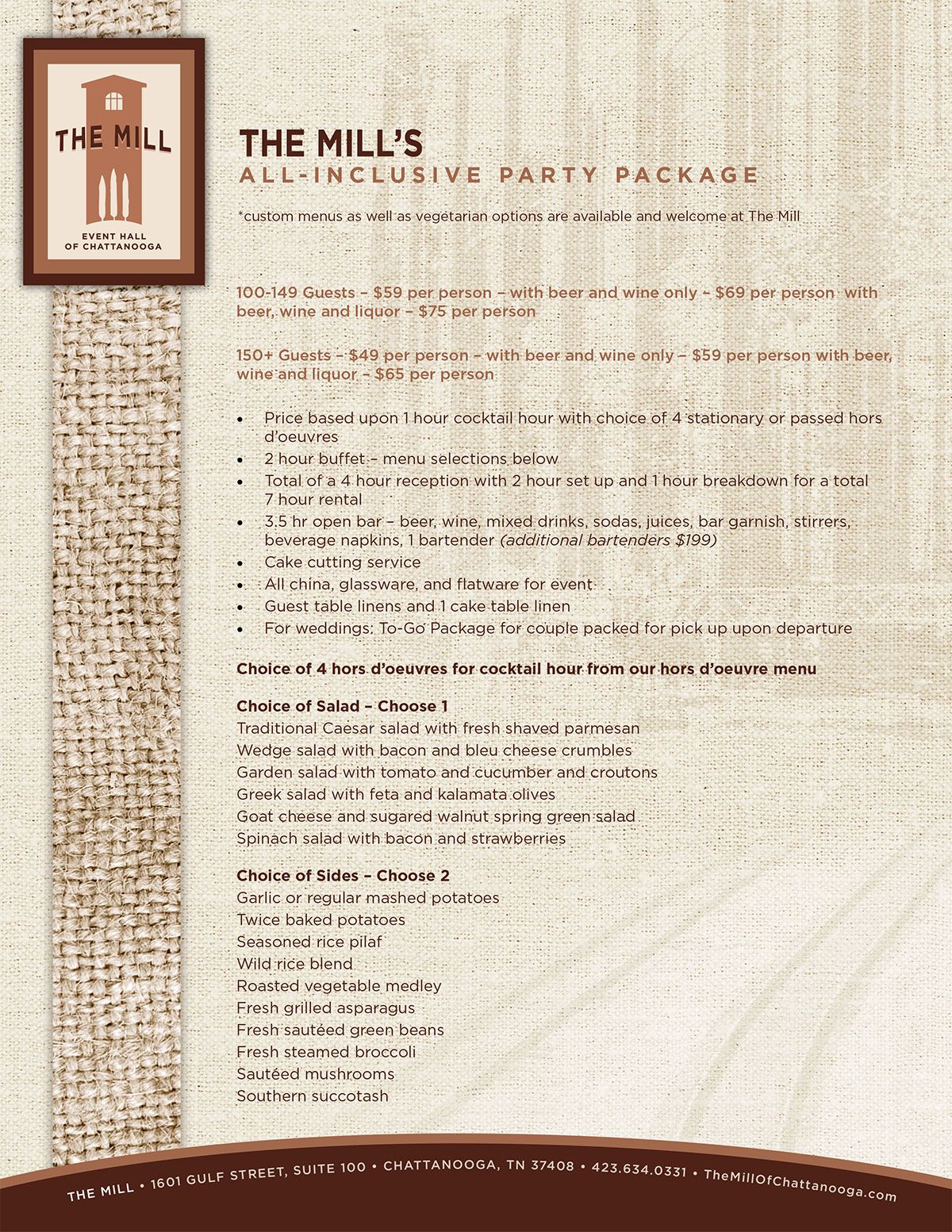 The Mill | All Inclusive Dinner Menu – Page 1
